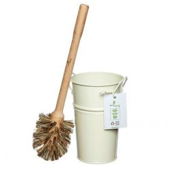 plastic free toilet brush set with cream bucket
