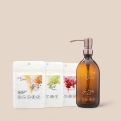 hand wash set with glass bottle