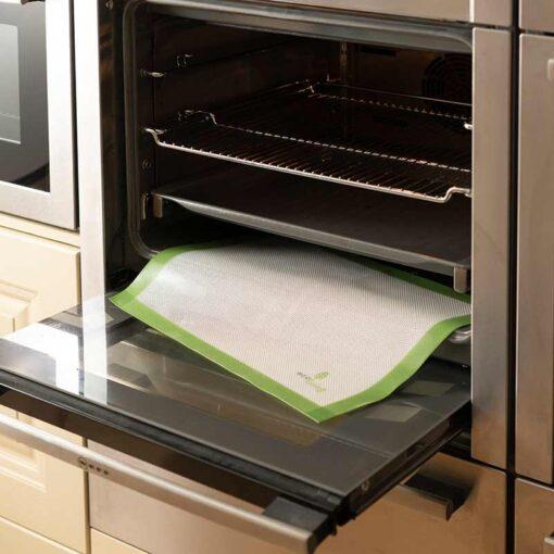 reusable baking sheet in an oven