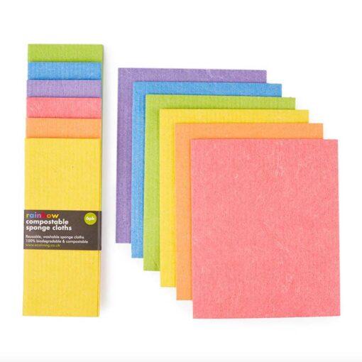 compostable sponge cloths in rainbow colours