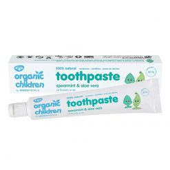 kids natural toothpaste next to packaging