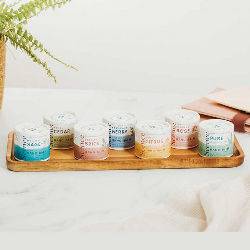 natural hand balm collection on a tray