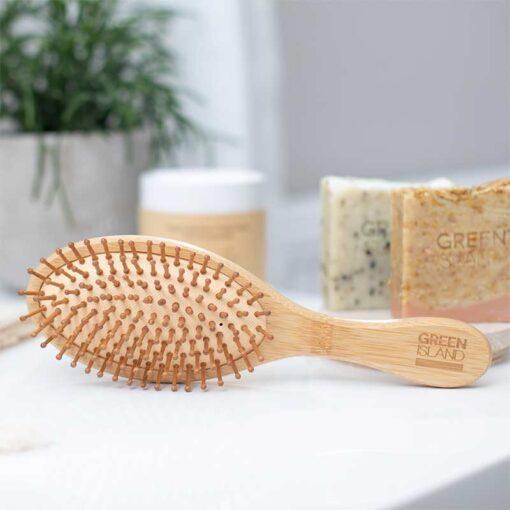 bamboo hairbrush on bathroom side