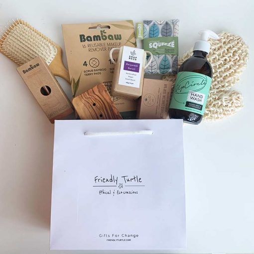 friendly turtle gift bag with products inside