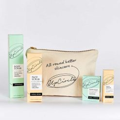 fairtrade cotton wash bag with skincare products