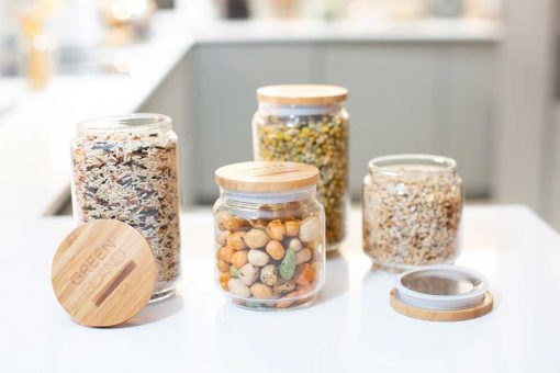 glass pantry jars on a kitchen top