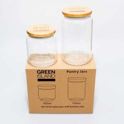 glass pantry jars next to packaging
