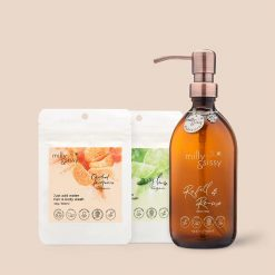 hair and body wash gift set with glass bottle