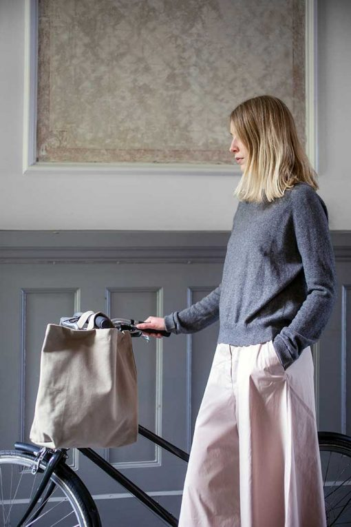 organic cotton shopping bag on a bike