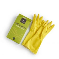 natural latex rubber gloves next to green packaging