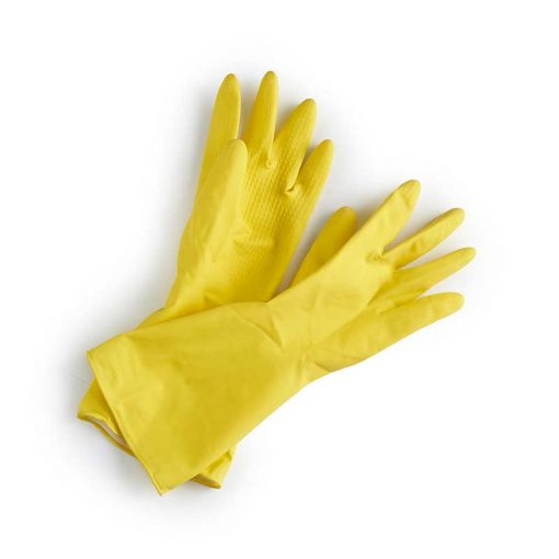 yellow natural latex rubber gloves