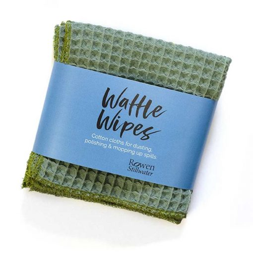 waffle wipes cleaning cloth in sea green