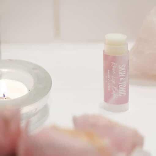 rose organic lip balm on bathroom side