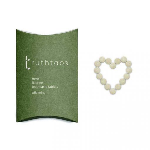 truthtabs toothpaste tablets in a heart shape