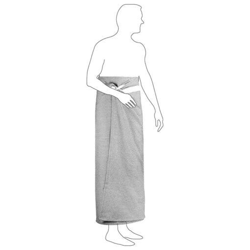 man wearing a lightweight beach towel round his waist