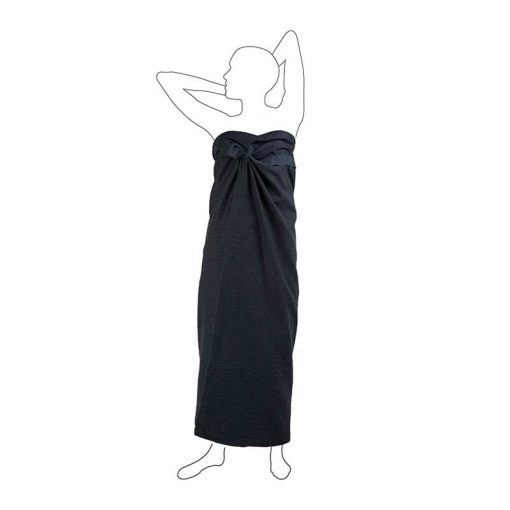 an organic cotton wellness towel around a womans waist