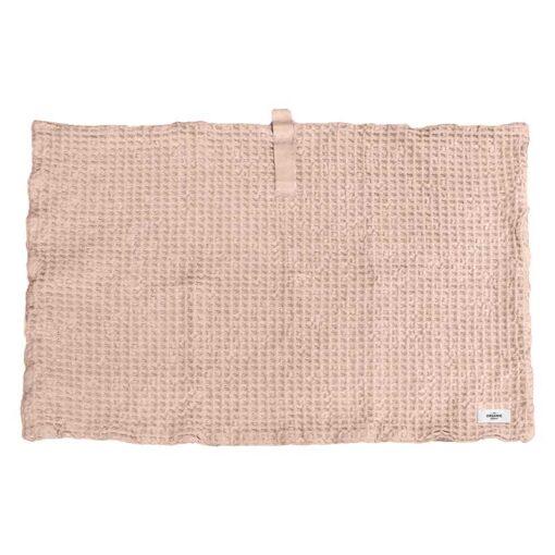 pink bath mat in waffle print