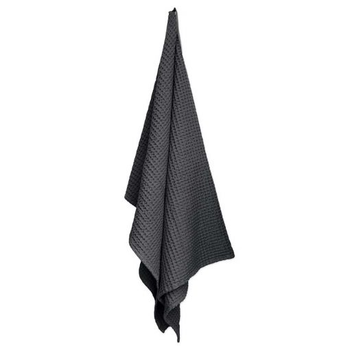 waffle weave towel hanging up