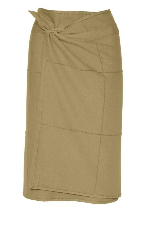 khaki towel wrap folded around someones waist