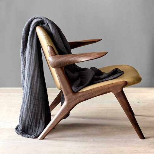organic cotton blanket over a chair