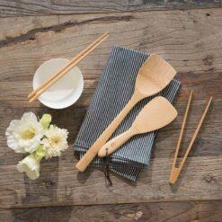 bamboo wok spatula and rice paddle