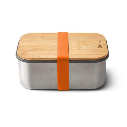 orange lunchbox with bamboo lid