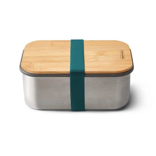 blue lunchbox with bamboo lid