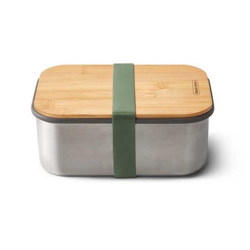 green lunchbox with bamboo lid