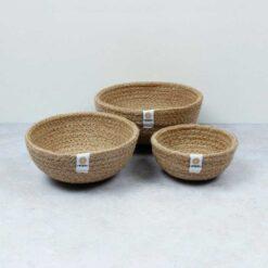 natural coloured jute bowls