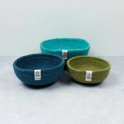 fabric bowls in ocean colours