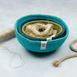 fabric bowls in blue