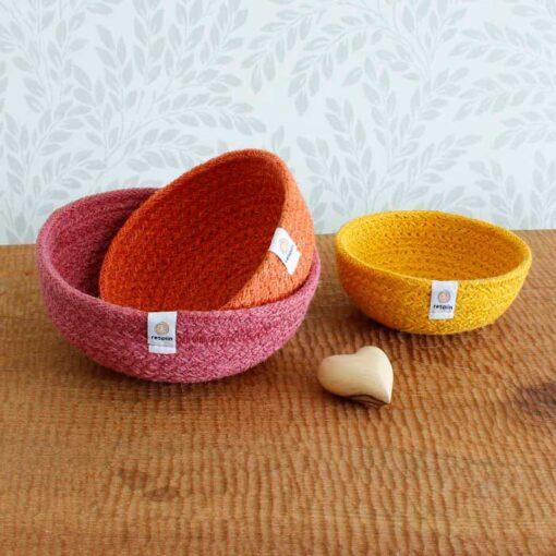 jute bowls fire set
