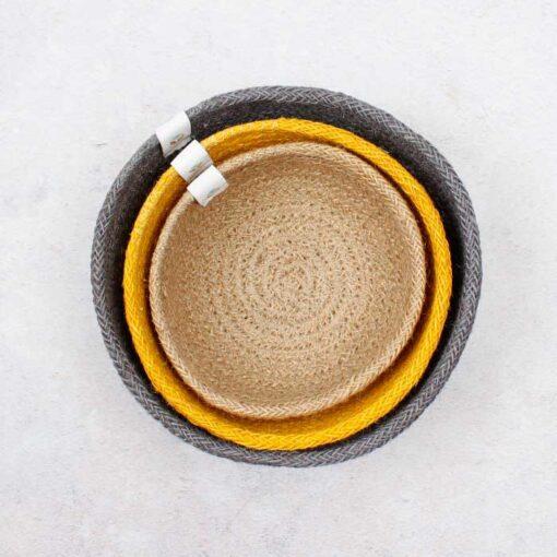 nested yellow jute bowls