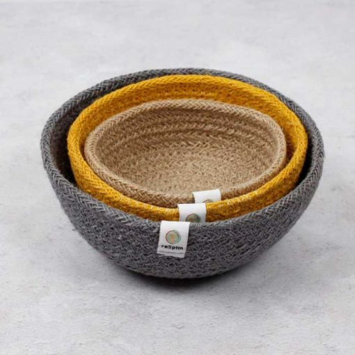 nested jute bowls in beach colours