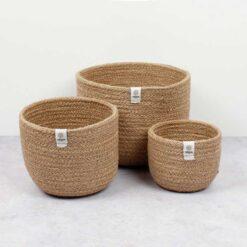 set of 3 jute bowls