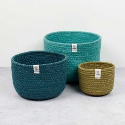 tall jute bowls set of 3 in blue