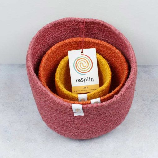 jute bowls fire colour