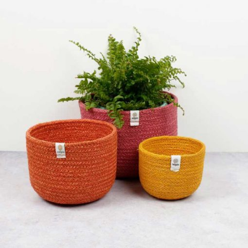 fabric bowls in red