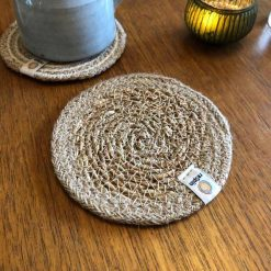 seagrass and jute coasters in natural