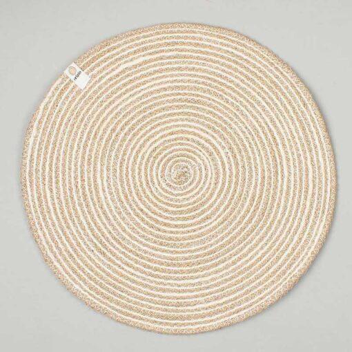 jute table mat in white