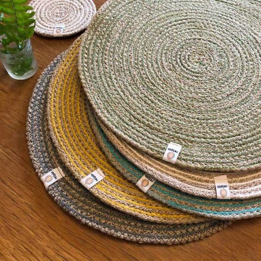 jute table mats in a pile