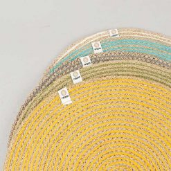 natural table mats in a pile