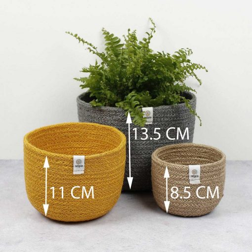 tall jute bowls with heights
