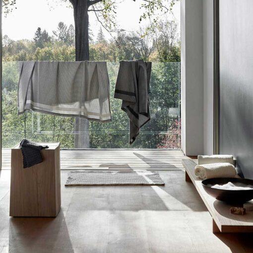 cotton bath mat in a modern bathroom