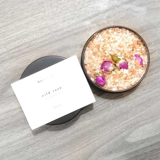 rose bath salts in a tin