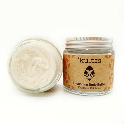plastic free body moisturiser with open lid