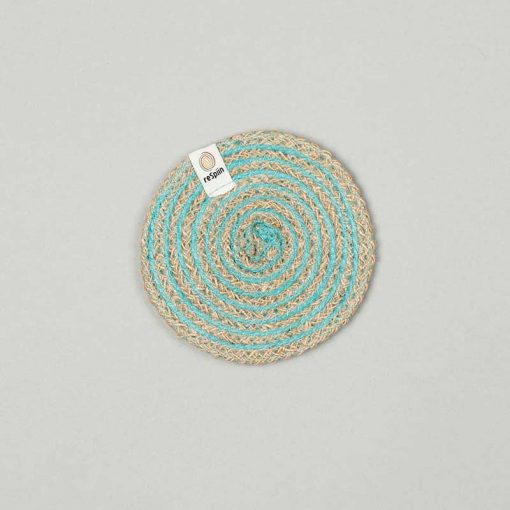 eco friendly coaster in turquoise