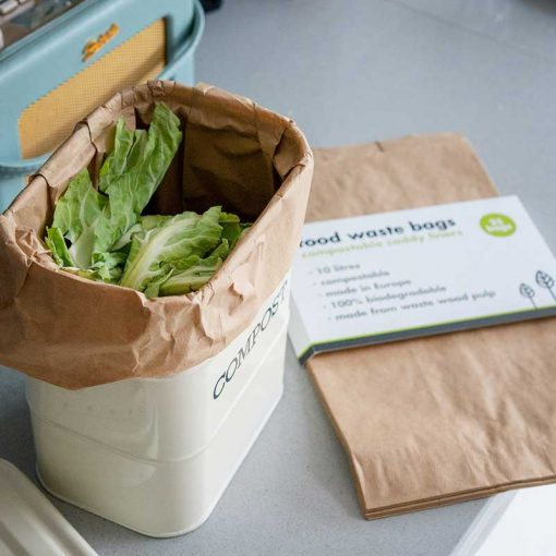 compostable food waste bags inside a compost bin