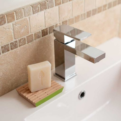 ecoliving soap dish next to bathroom tap