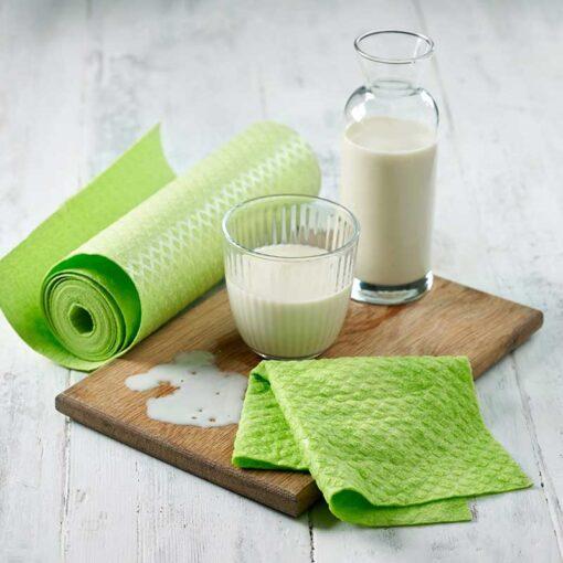 green sponge kitchen roll on kitchen side